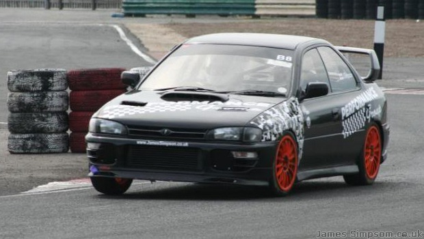 Subaru Impreza WRX Black - Orange Wheels - Croft Track Day