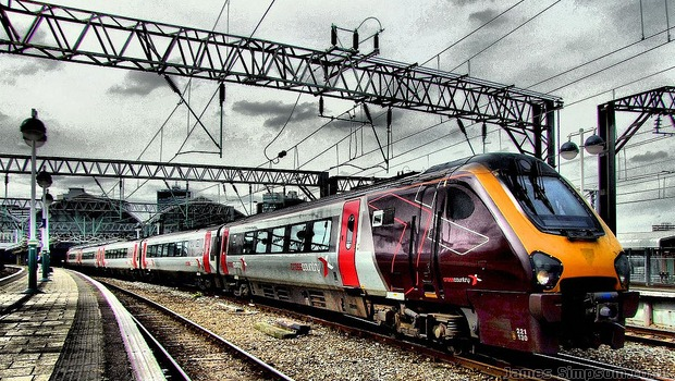 Cross Country Train Leaving Newcastle Train Station